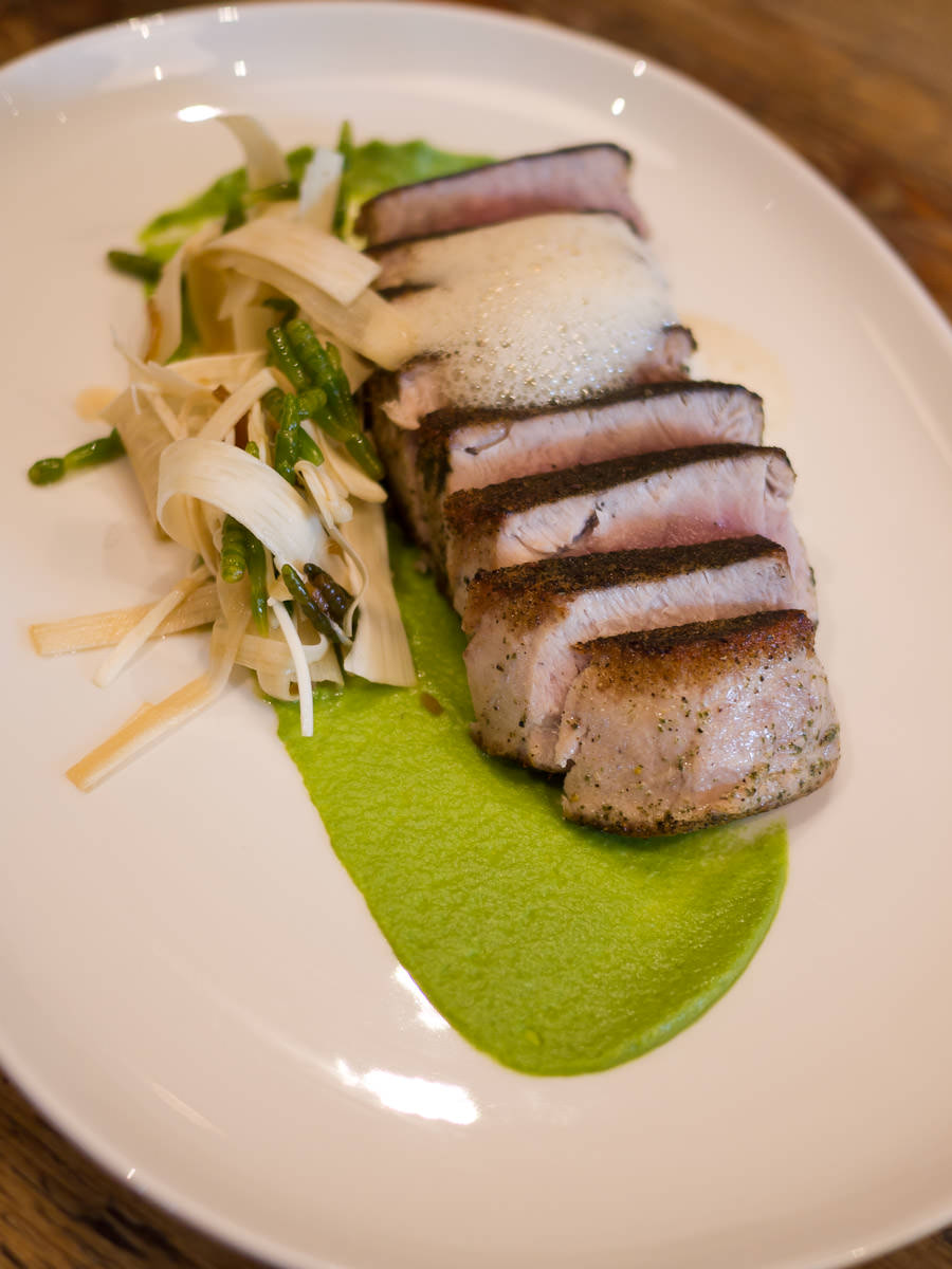 Seared tuna with sea urchin foam, edamame and horseradish sauce