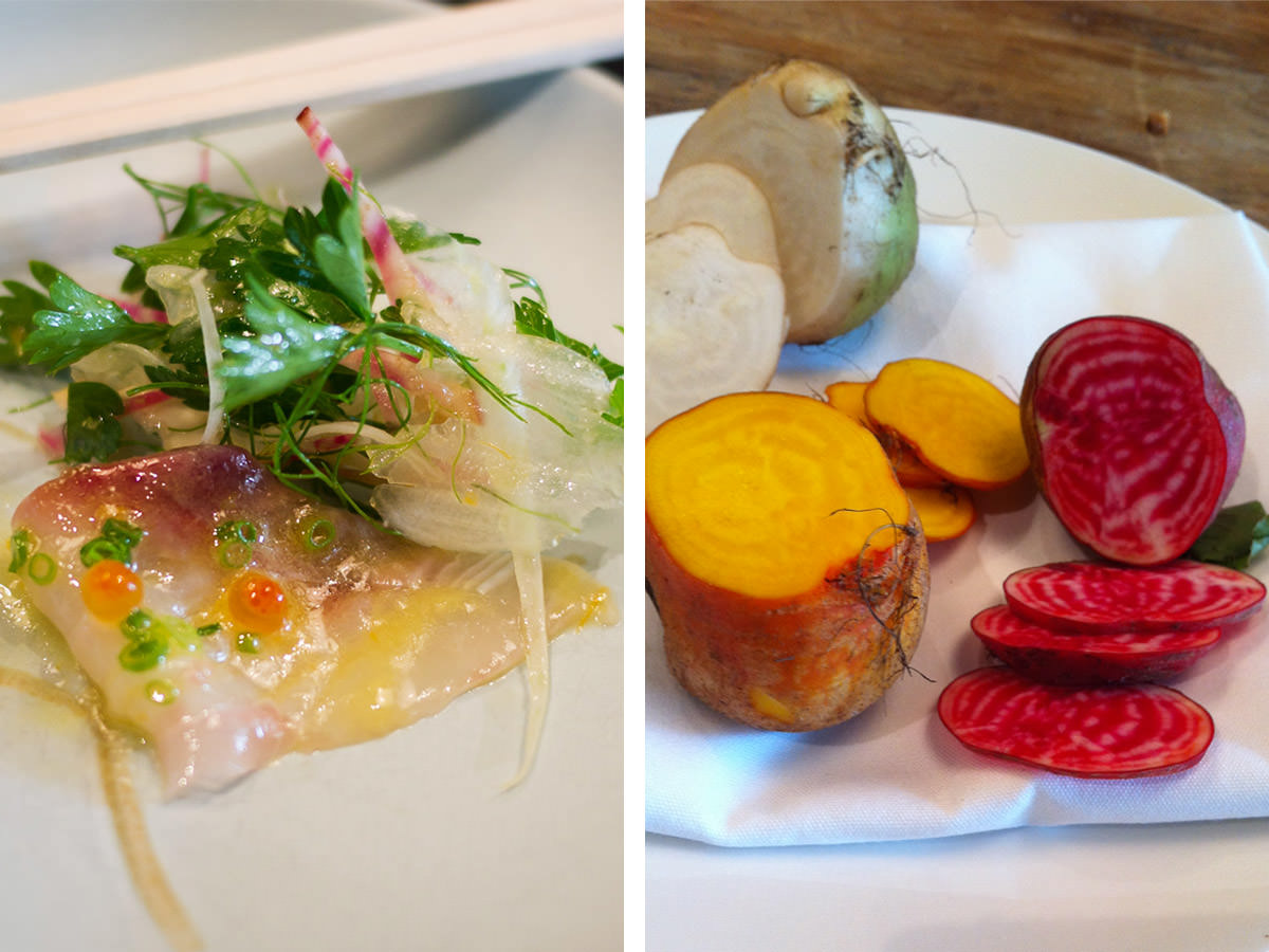 L-R: kingfish with salad; candy striped, golden and white beetroot