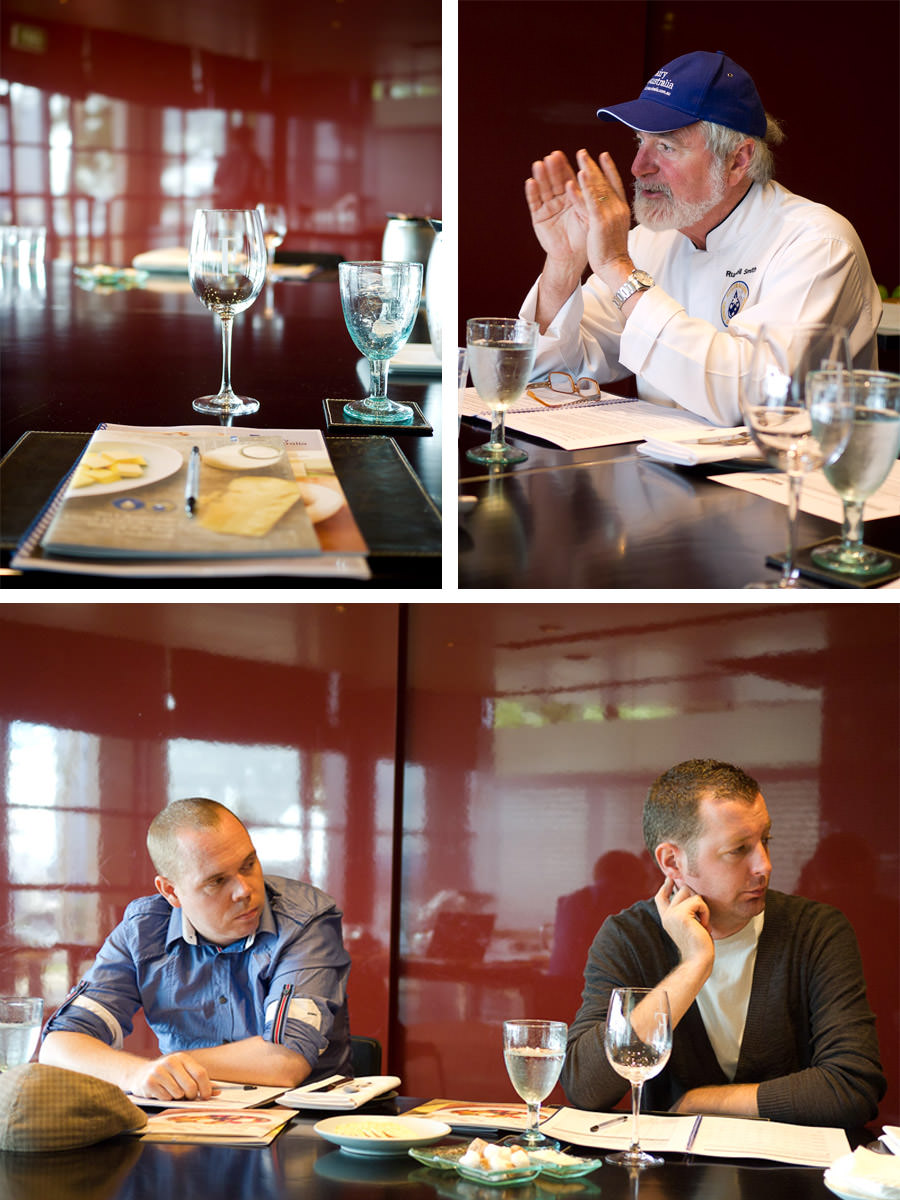 Top, L-R: workshop booklet and glasses (for taste tests and rinsing); Russell Smith. Bottom: Chefs Scott O'Sullivan and Adam Sayles, Red Cabbage