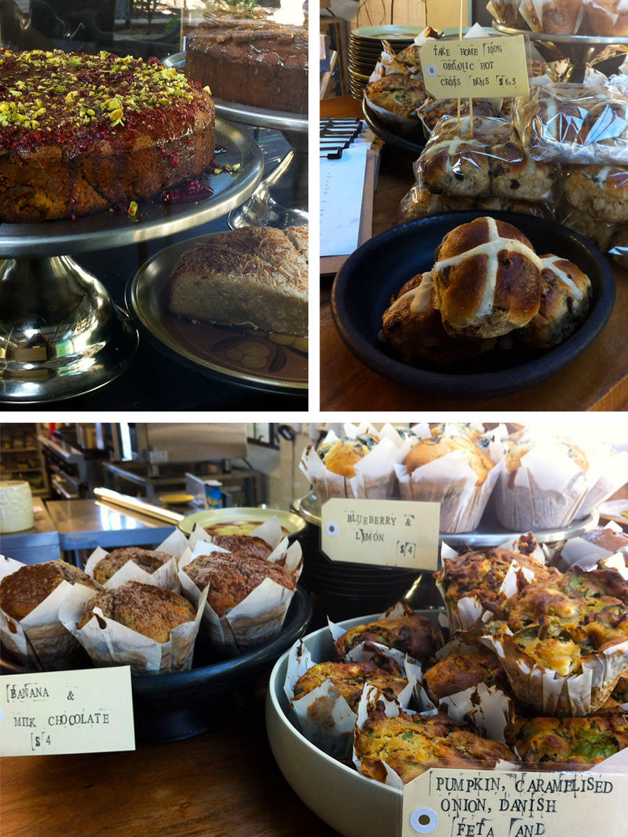 Cakes, hot cross buns, muffins