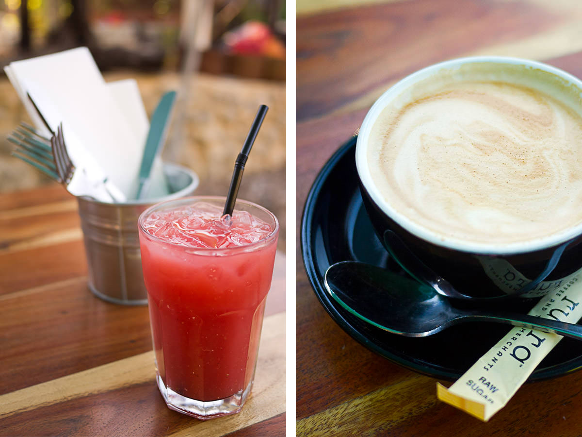 Watermelon juice and flat white