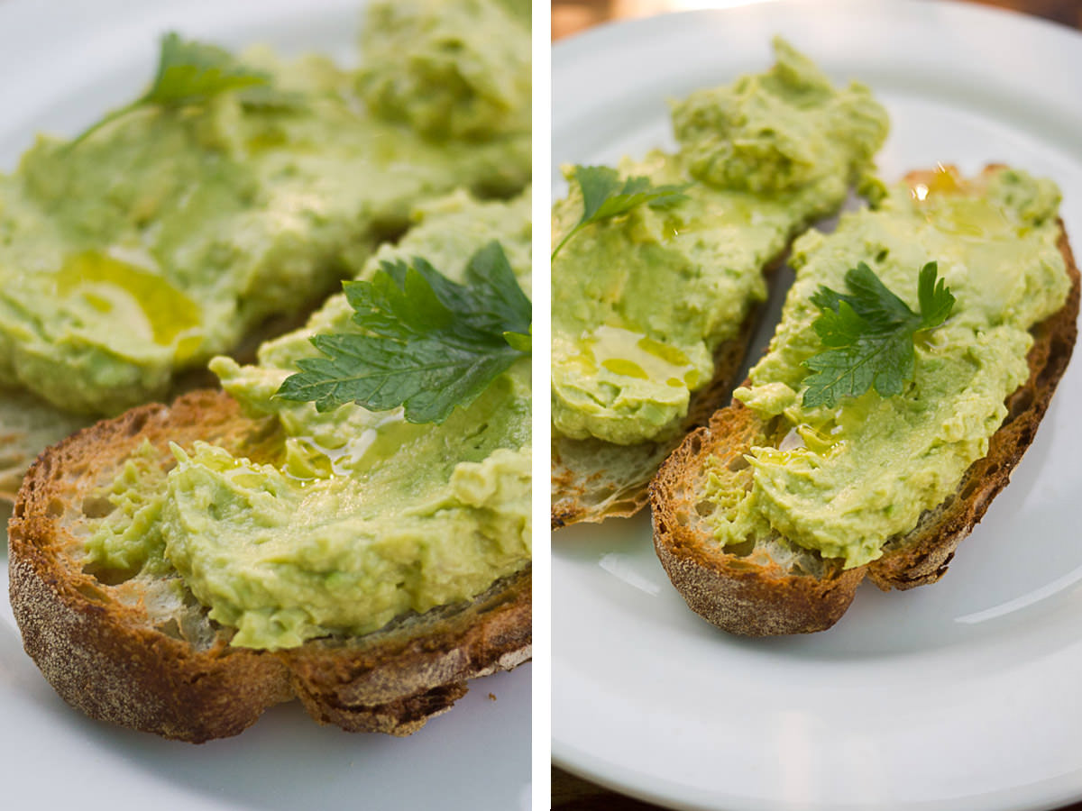 Crushed avocado with lemon juice on organic toast (AU$9.50)