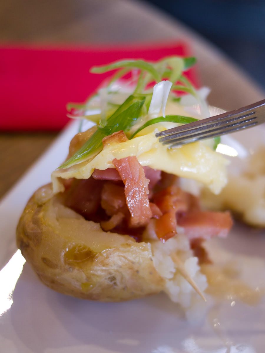 Oven baked potato (AU$6) - so much bacon!