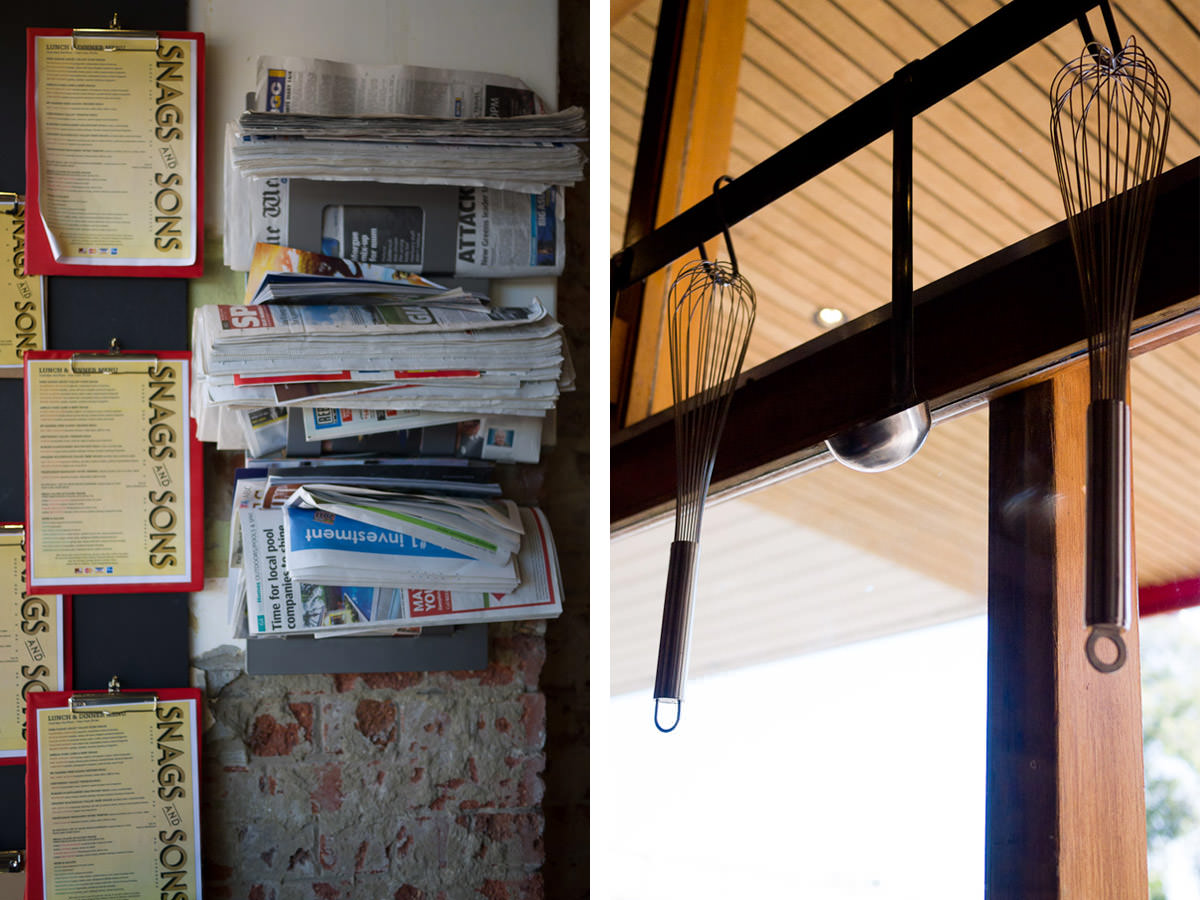 Menus and newspaper as you walk in; whisks and ladles hang in the window