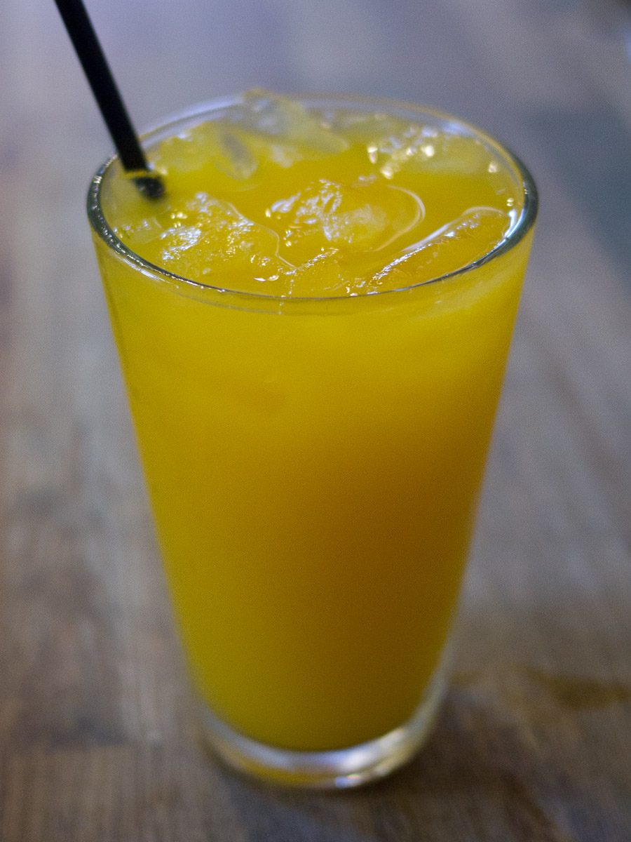 Freshly squeezed juice of Serpentine oranges