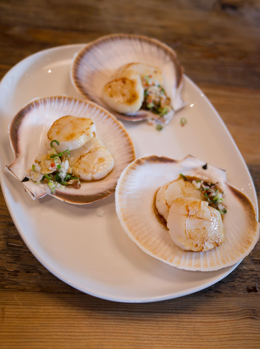 Scallops with yuzu, lime, soy and palm sugar