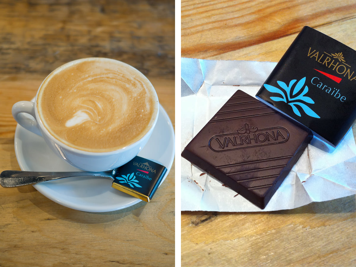 Soy flat white and Valrhona chocolate