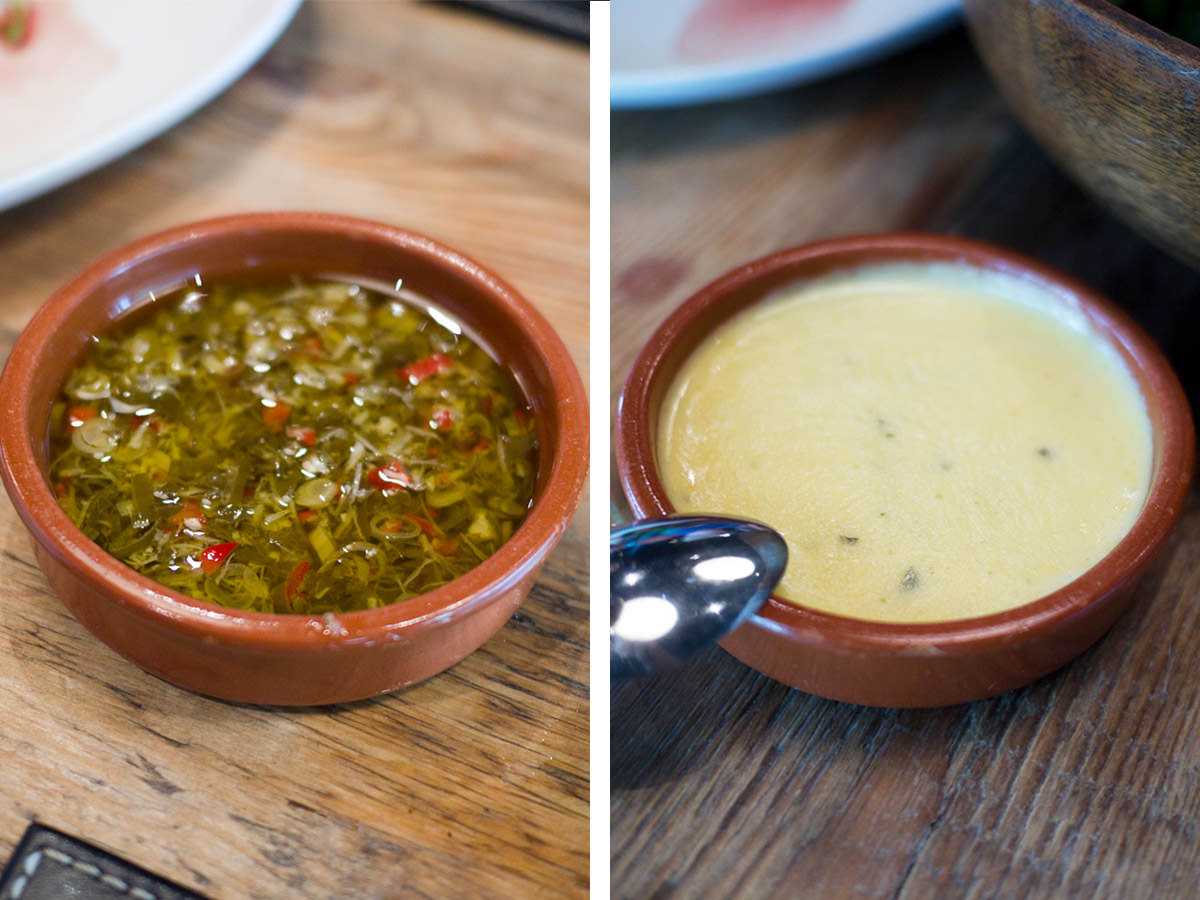 Chimmichurri and bearnaise sauces