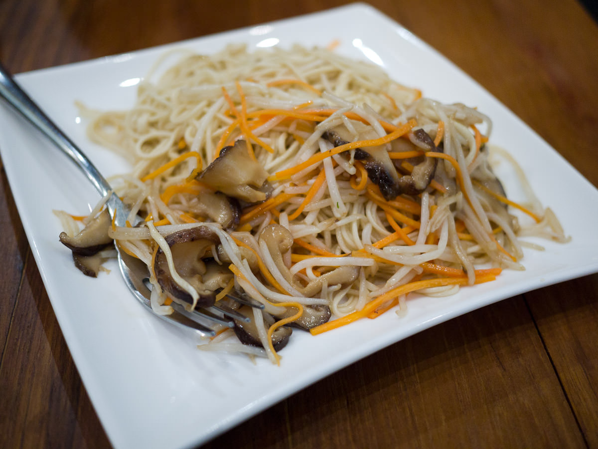 Handmade noodles wok-fried with mushrooms, beansprouts in premium soya sauce (AU$12.90)