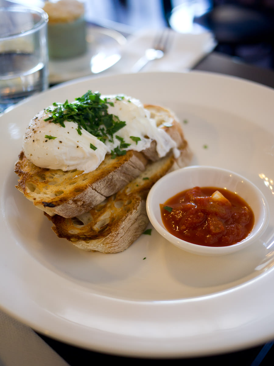 Free range poached eggs, ciabatta toast and tomato relish