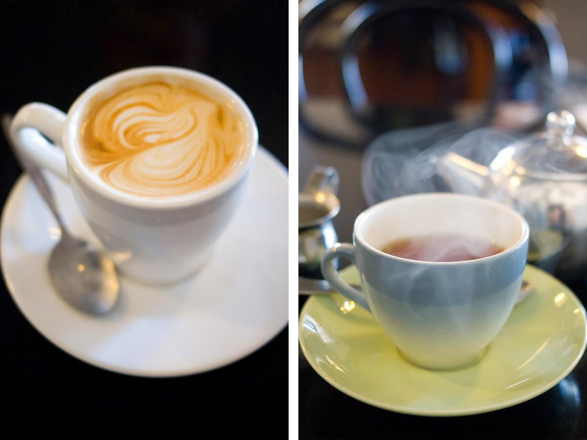 Flat white and English breakfast tea