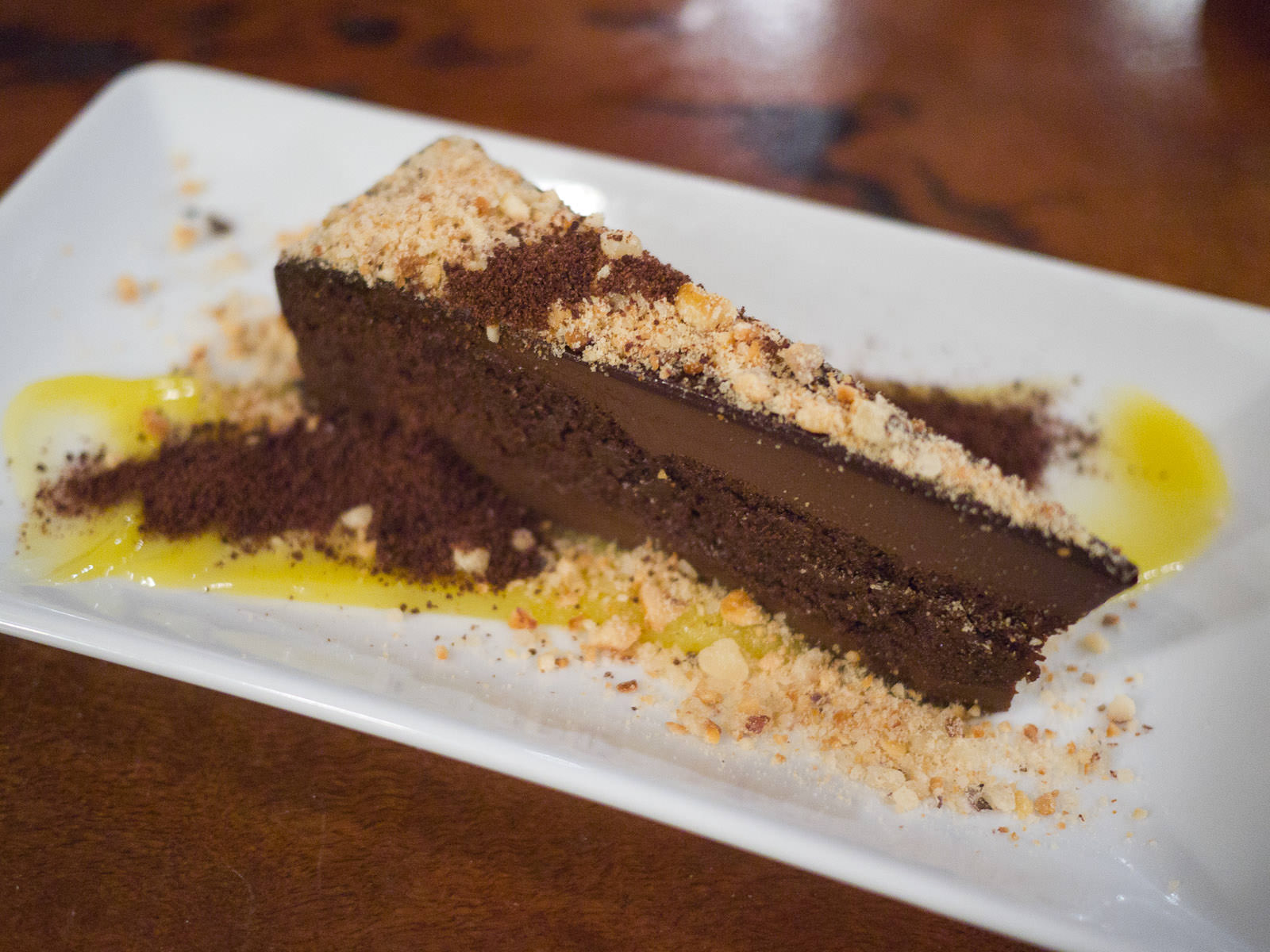 Flourless chocolate cake, lime curd, praline, chocolate dirt (AU$14)
