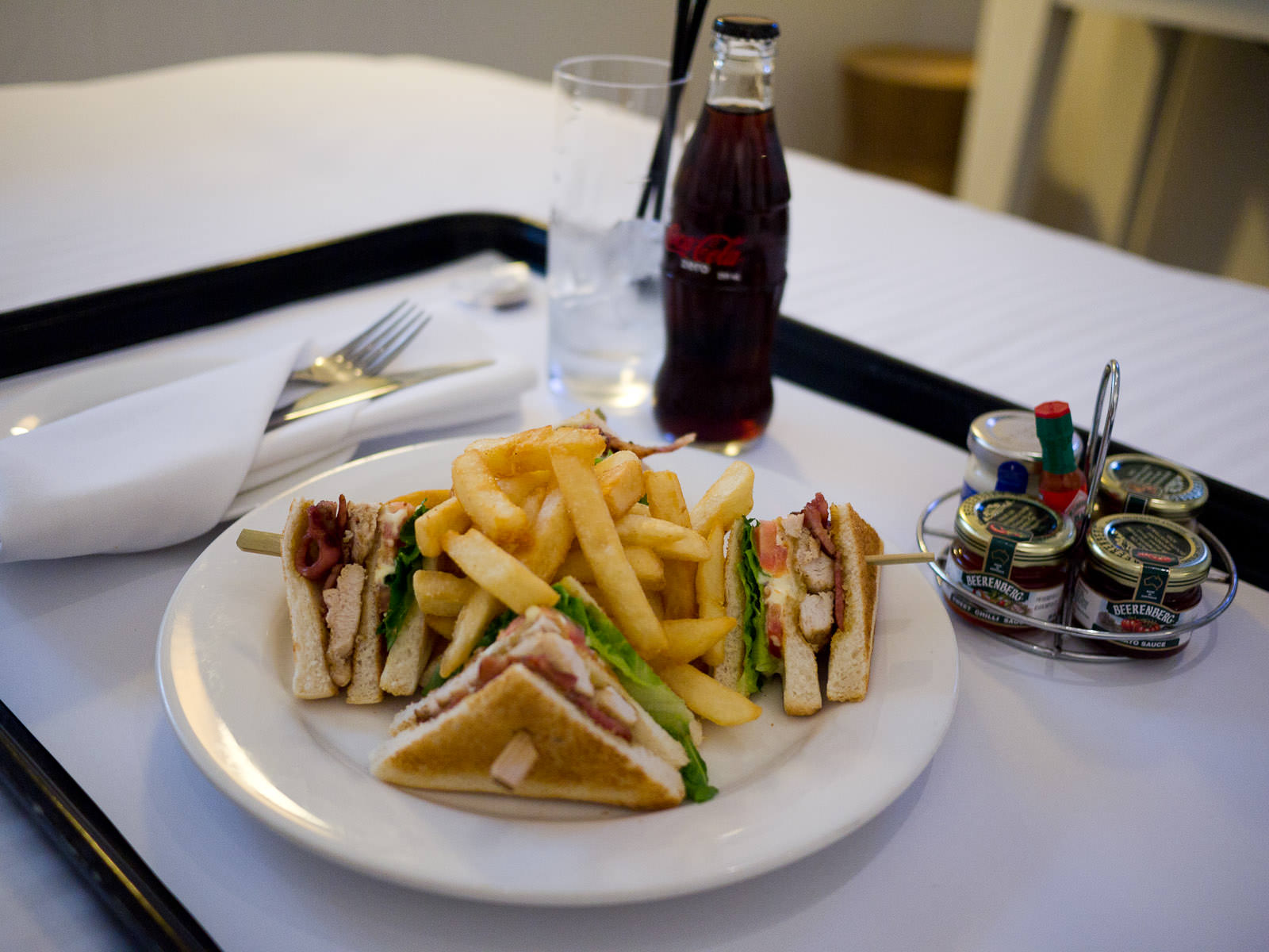 Room Service at The Sebel Pier One (Front Restaurant)  - club sandwich and Coke Zero