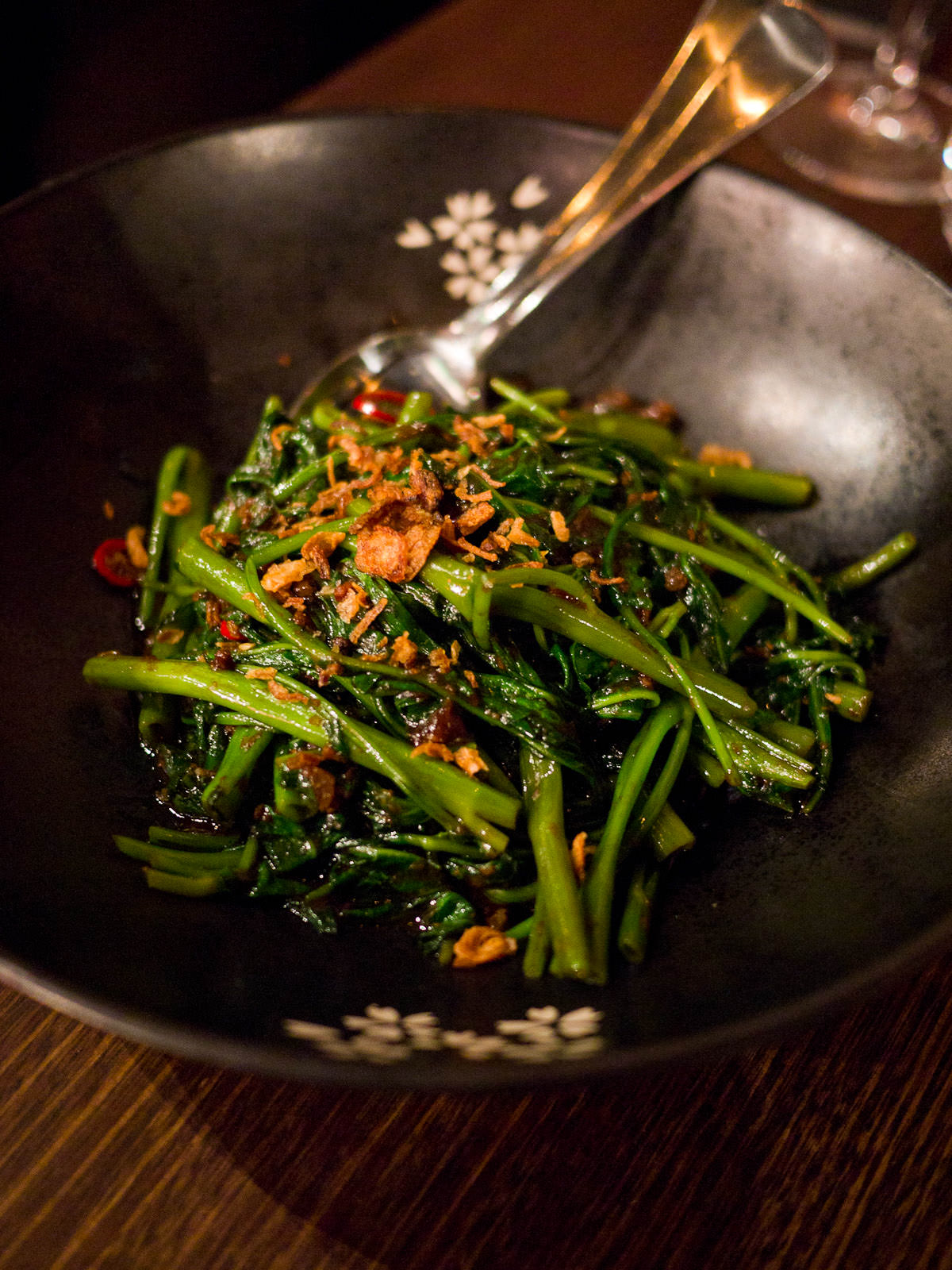 Bella Chan Kang Kong - Water convolvulus tossed in a light chilli prawn paste (AU$15)