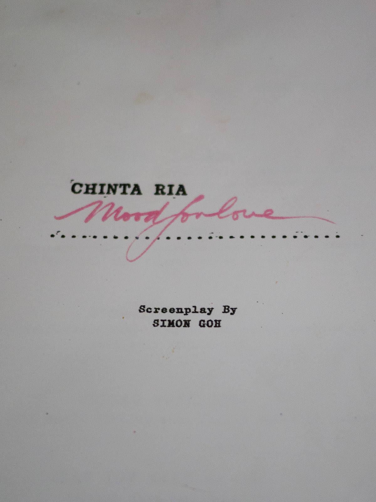 Chinta Ria... Mood for Love menu