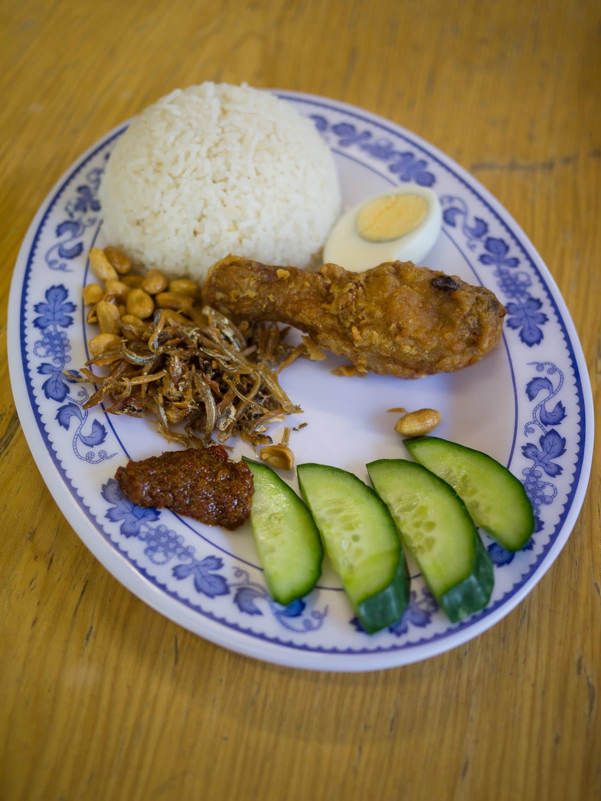 Nasi lemak with ayam goreng (fried chicken)