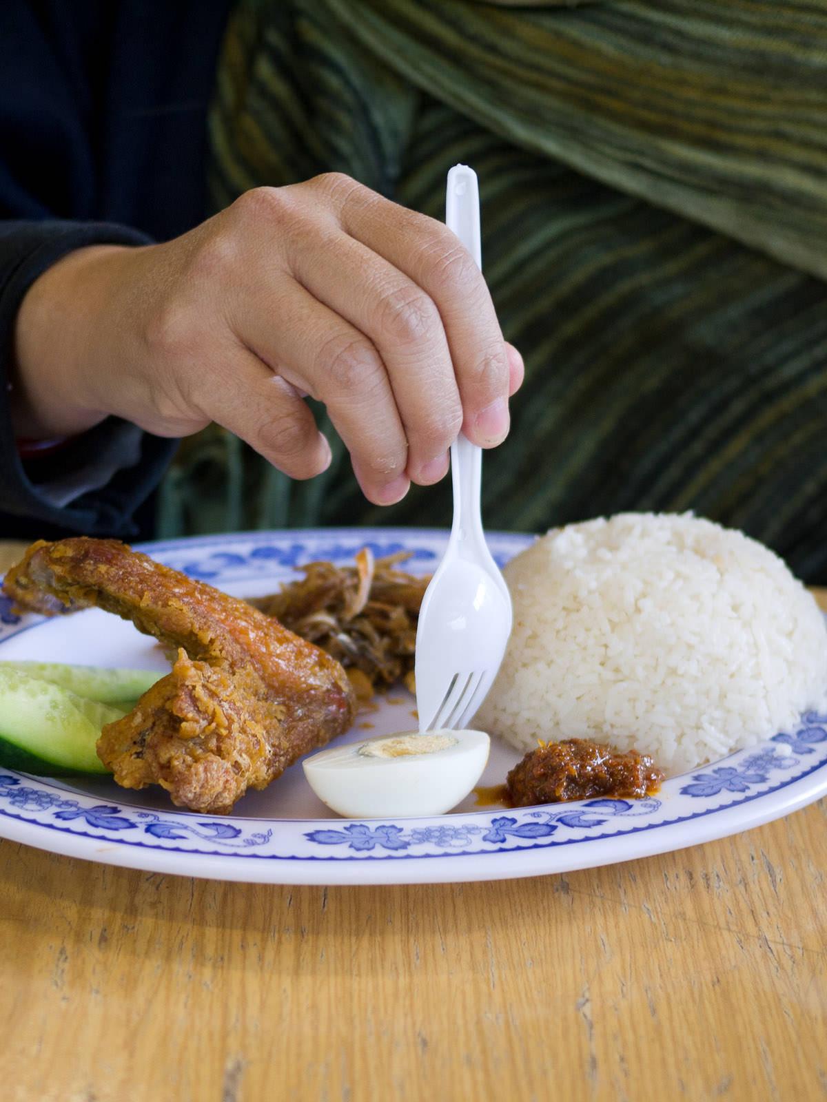 Digging into nasi lemak