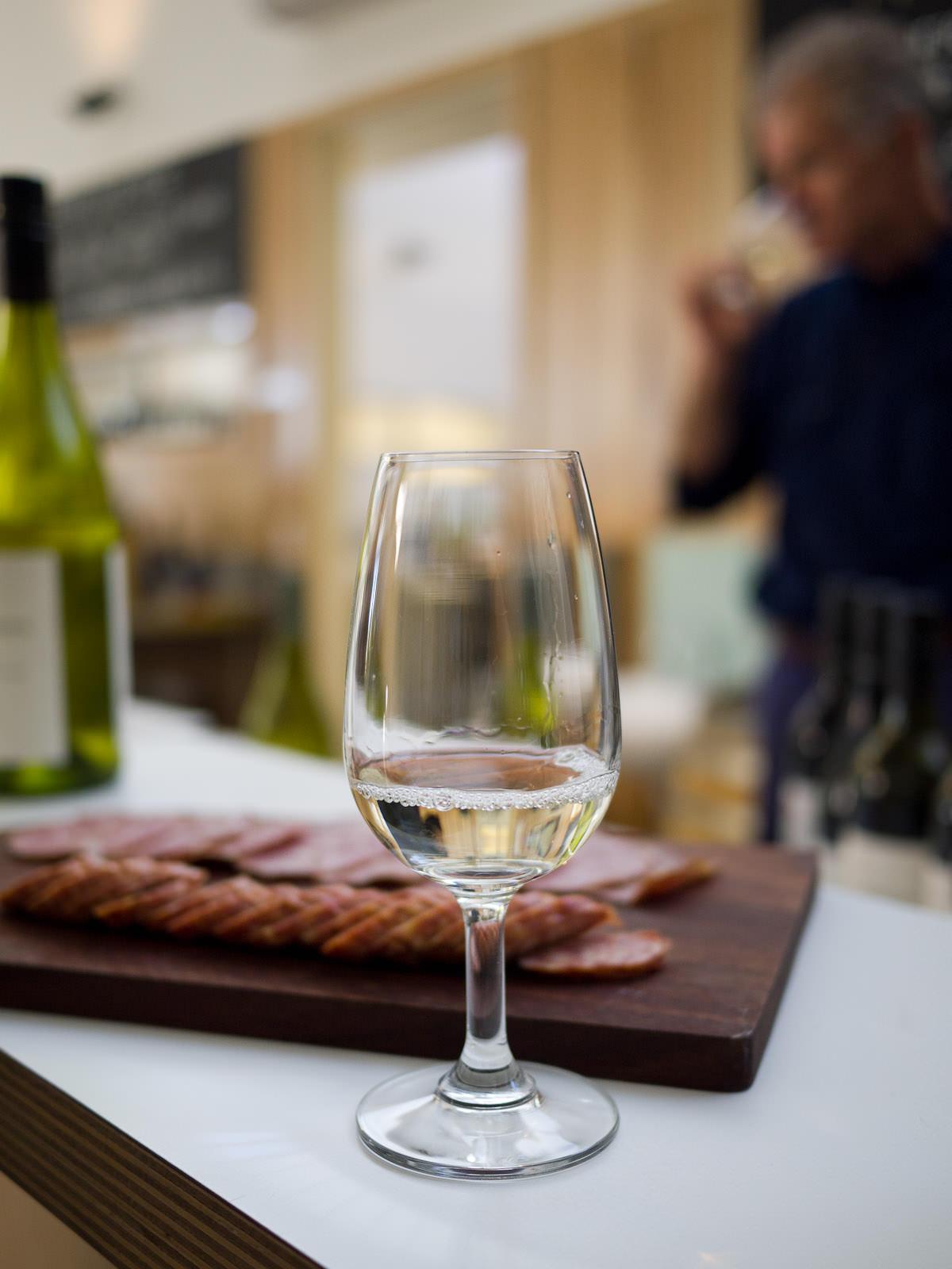 Wine tasting with pastrami and chorizo