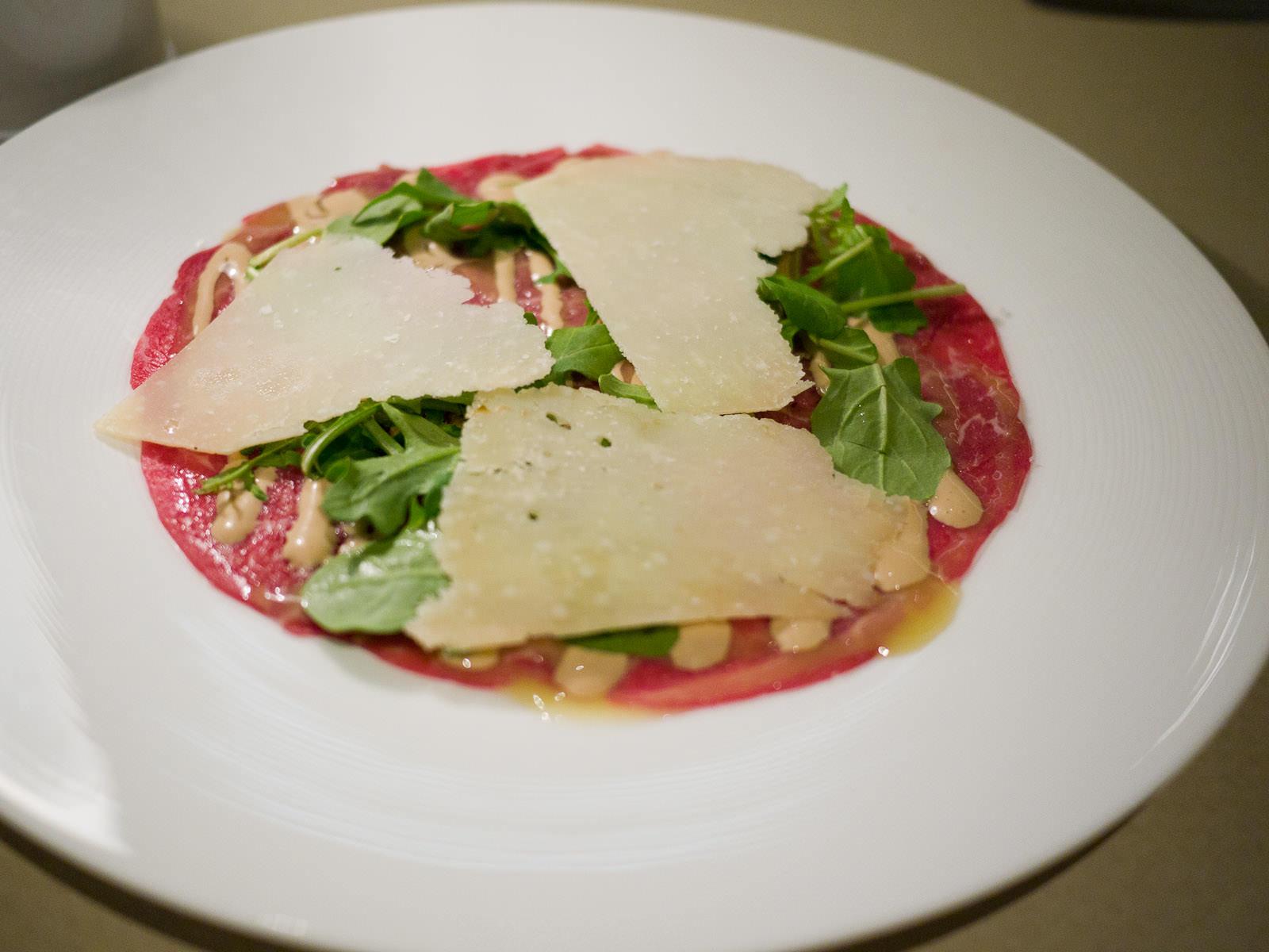 Beef carpaccio, Cipriani sauce, rocket salad, parmesan, AU$23