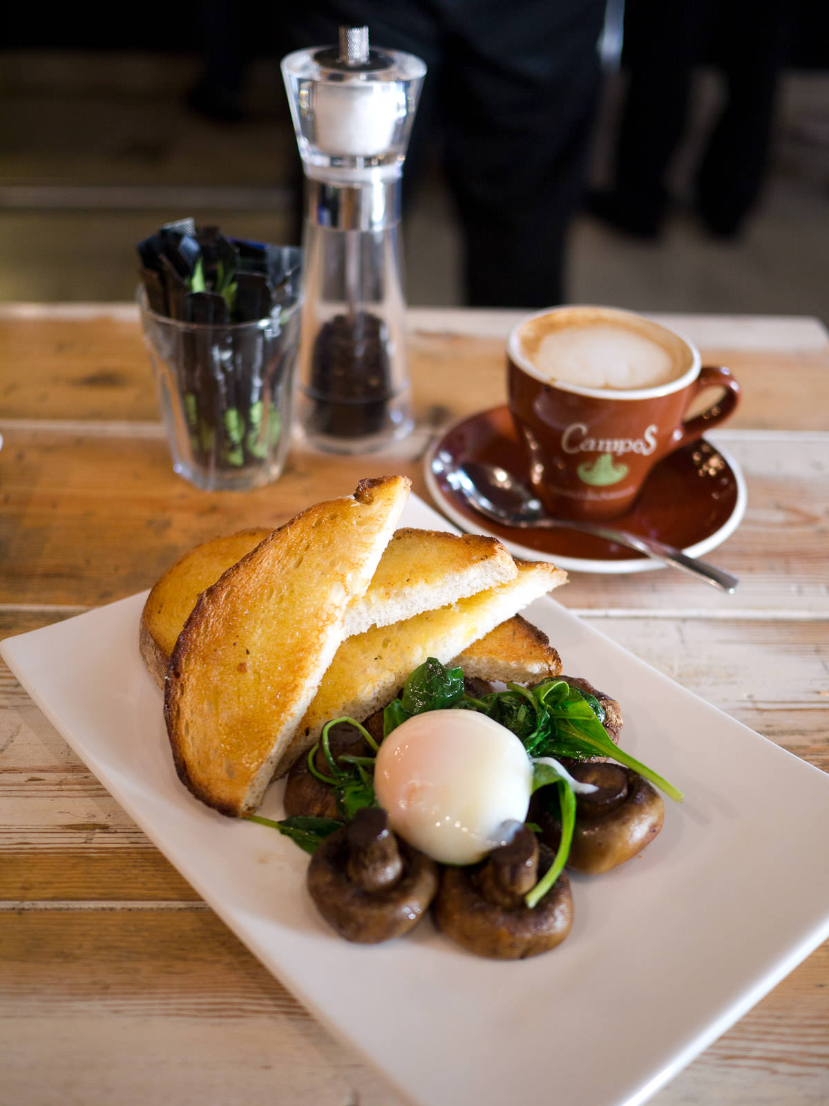 60min slow poached egg with New Norcia Toast, roast mushrooms and spinach (AU$14)