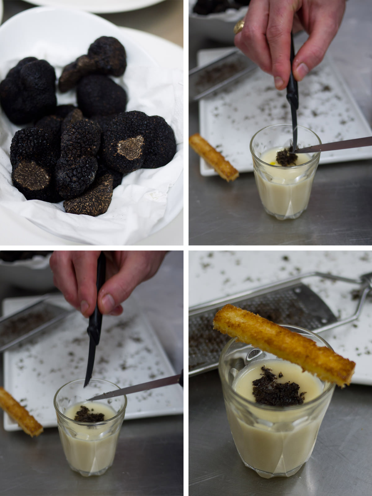 Amuse bouche - cream of cauliflower soup with shaved truffle