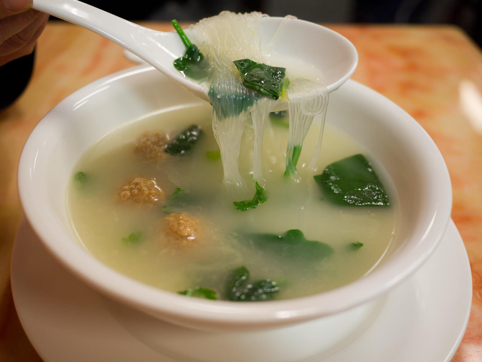 Meatballs and spinach soup - don't miss the vermicelli!