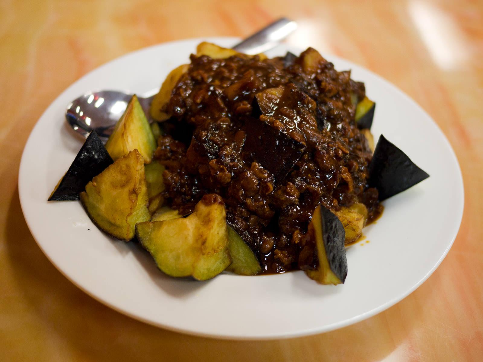 Eggplant, pork mince and brown sauce (AU$13)