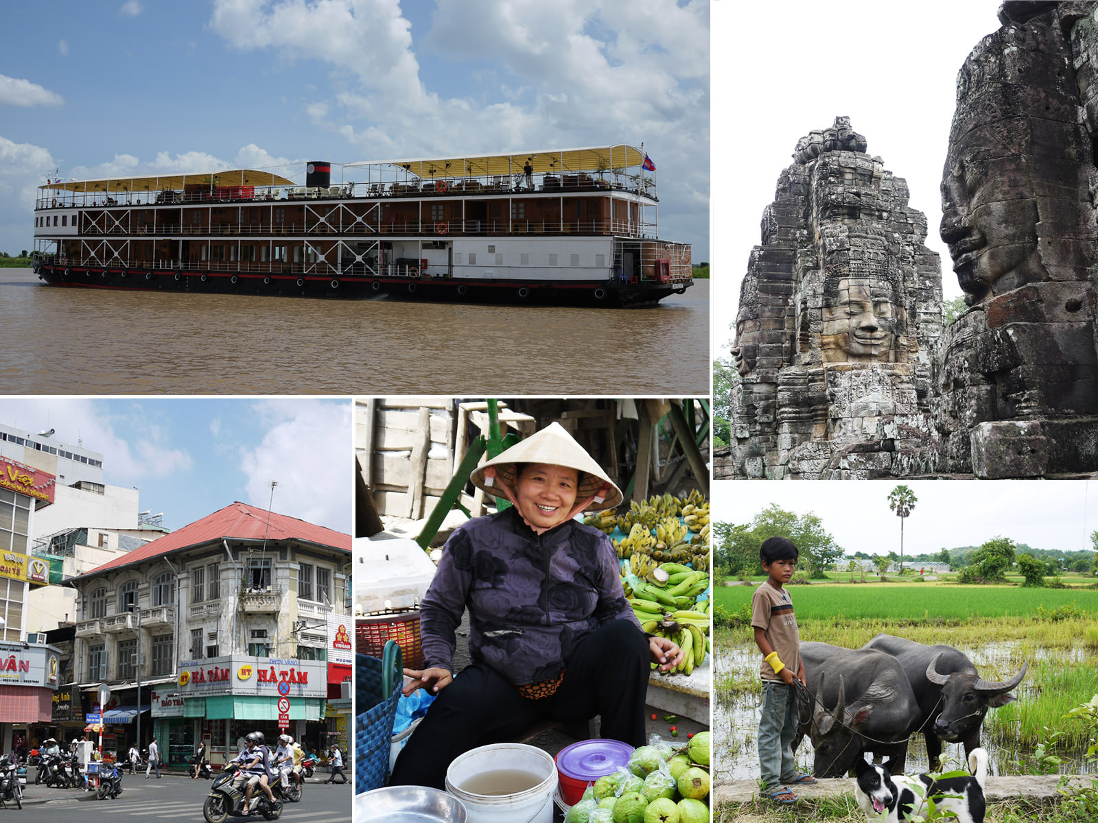 Just a taste of what's to come - clockwise starting top left: our cruise ship, the Mekong Pandaw RV; Bayon Temple at Angkor, Cambodia; boy with oxen at Cheungkok village in Kampong Cham, Cambodia; fruit seller at Sa Dec market, Vietnam; motorcycles galore in downtown Saigon, Vietnam