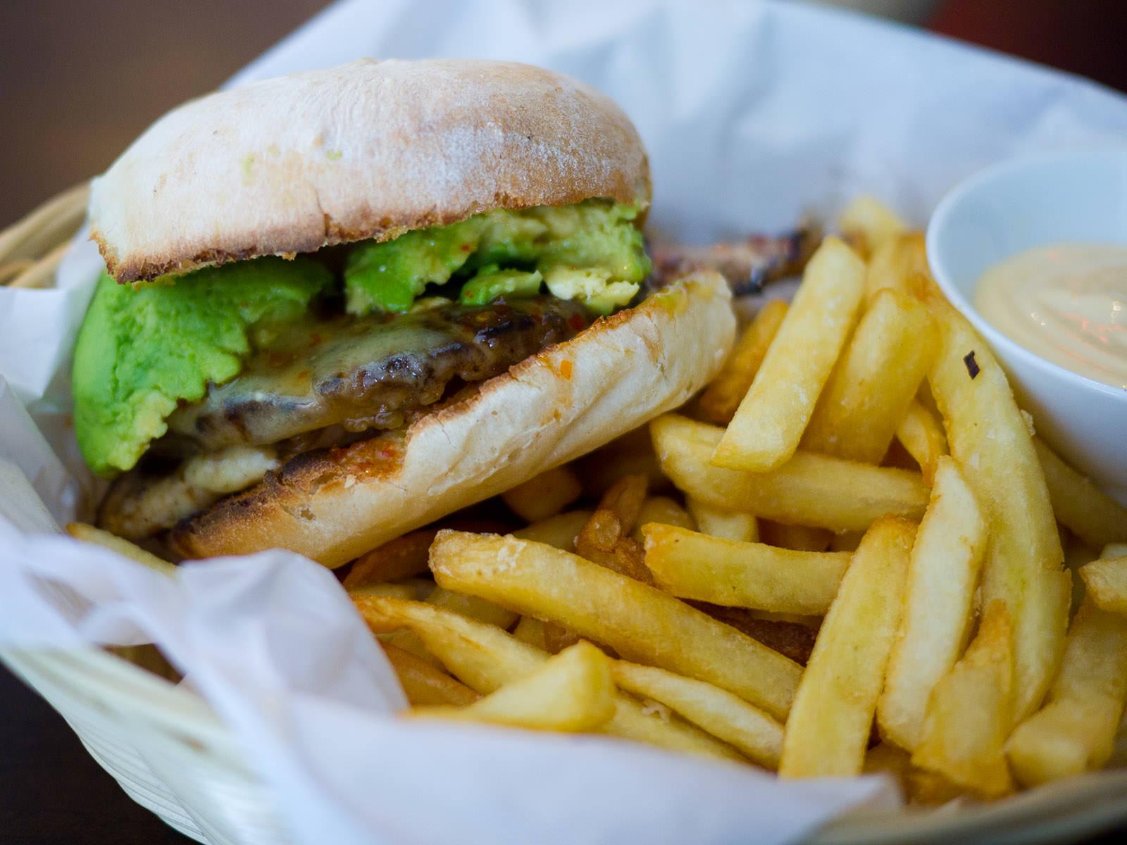 Hawaiian burger with fries