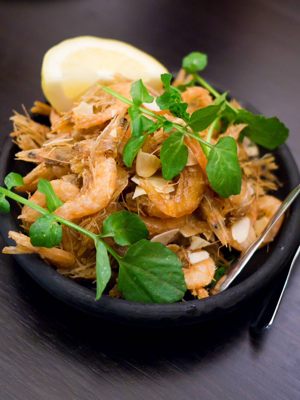Fried school prawns (AU$11)