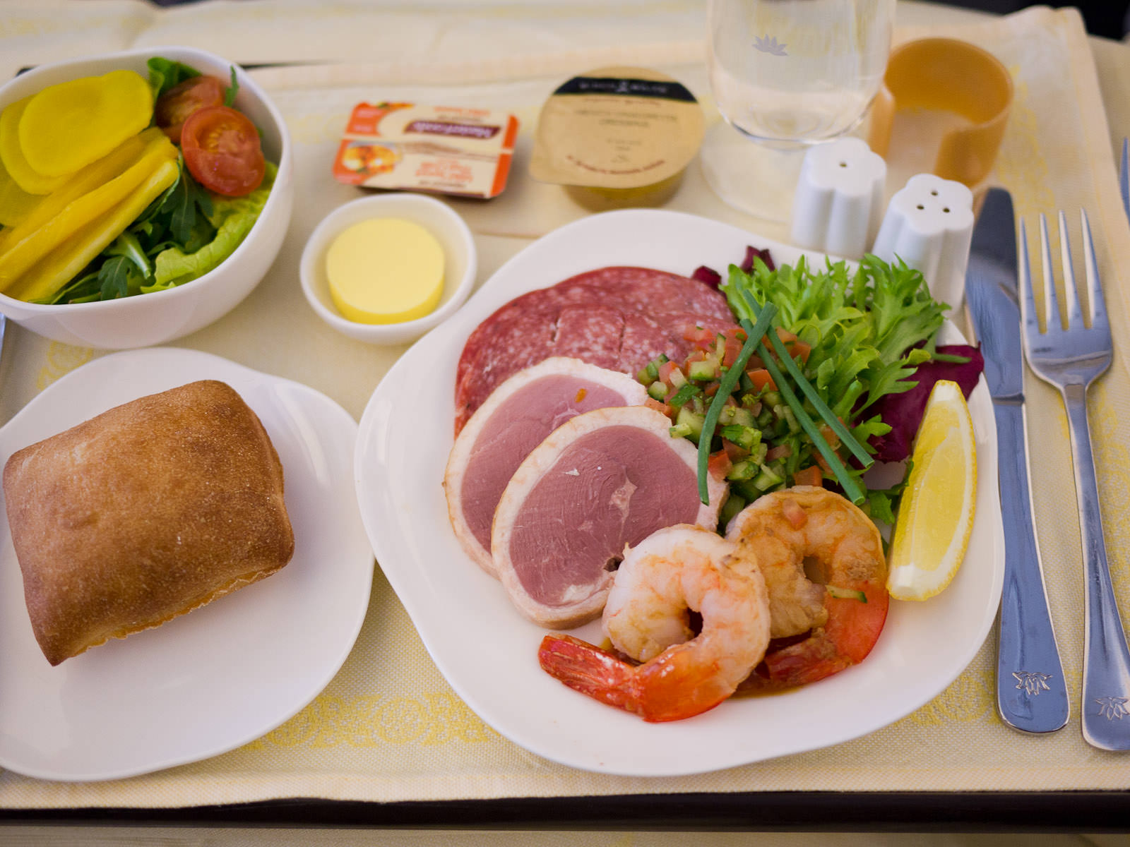 Hors D'oeuvre: smoked duck breast, Hungarian salami and grilled prawn, served with salad