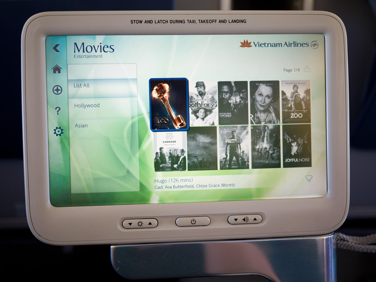 In-flight entertainment - movie selection