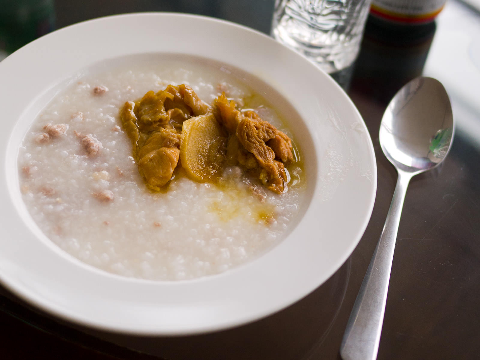 Pork mince porridge with ginger chicken