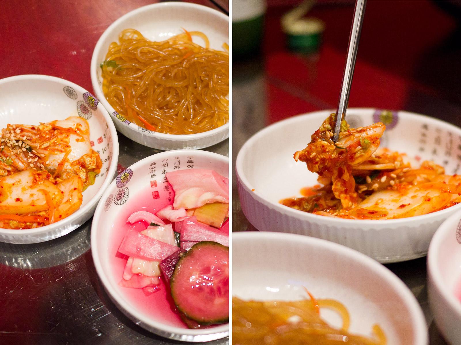 Kimchi, noodles, pickles