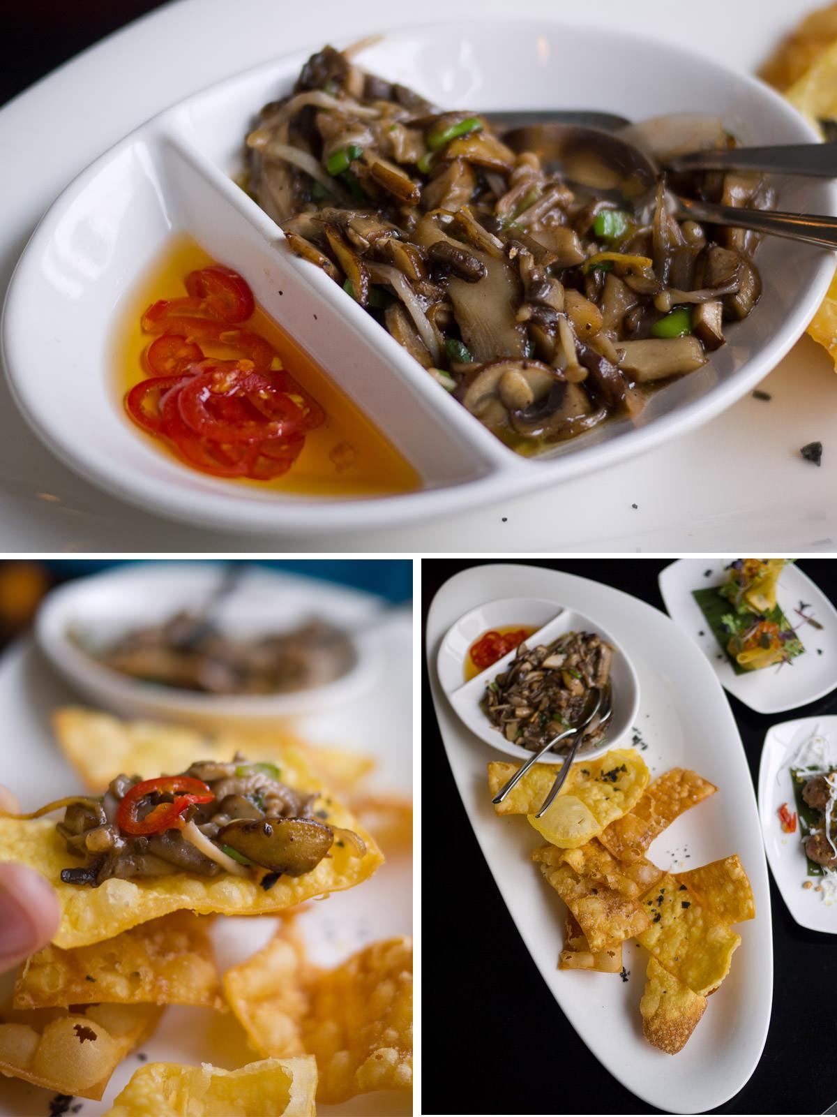 Wild mushroom, truffle and wonton chips