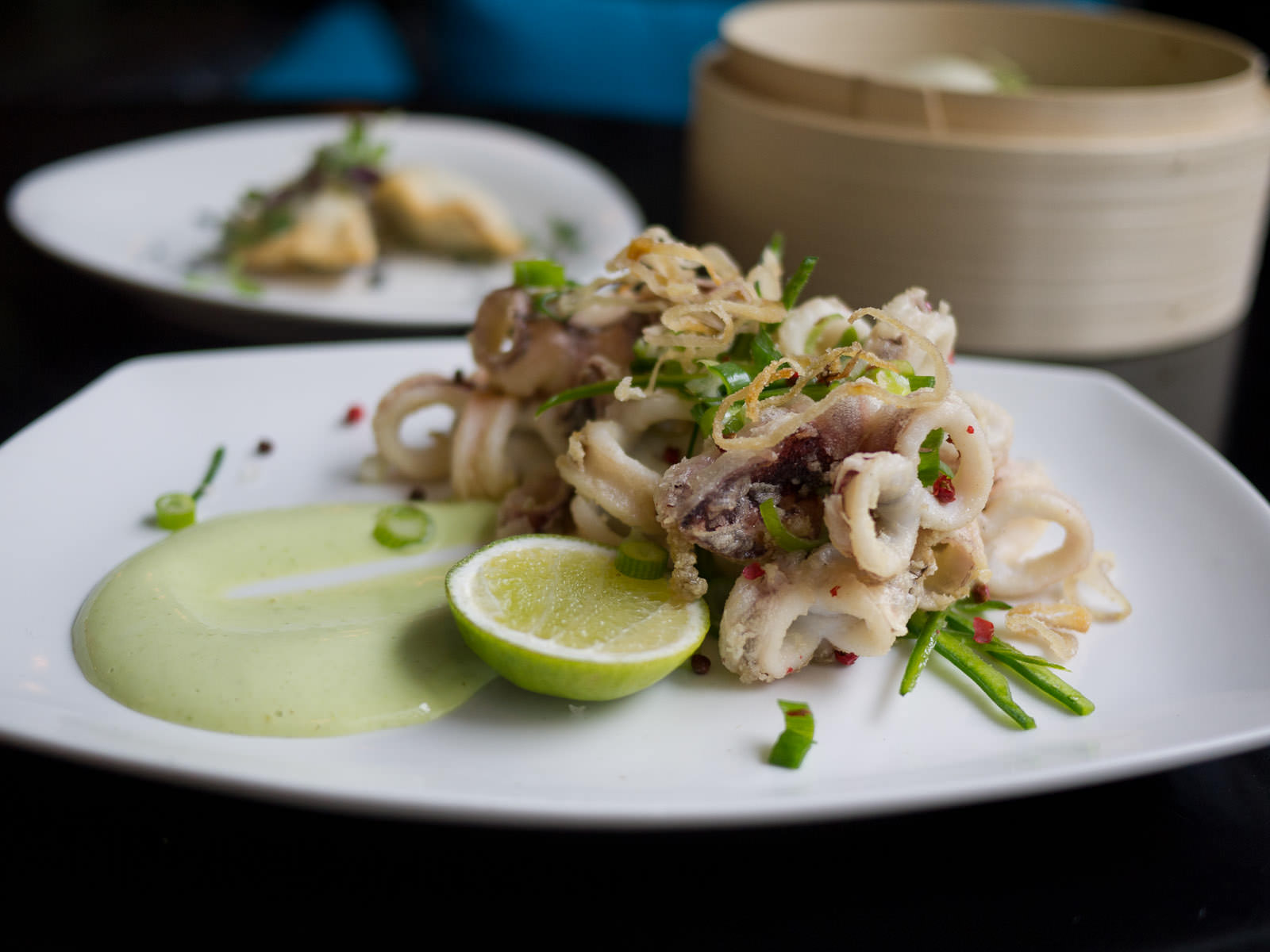 Pink pepper squid, garlic, lime, shallots