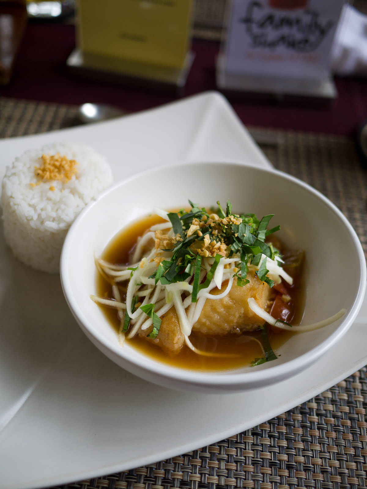 Braised fish with caramelised palm sugar and kampot pepper