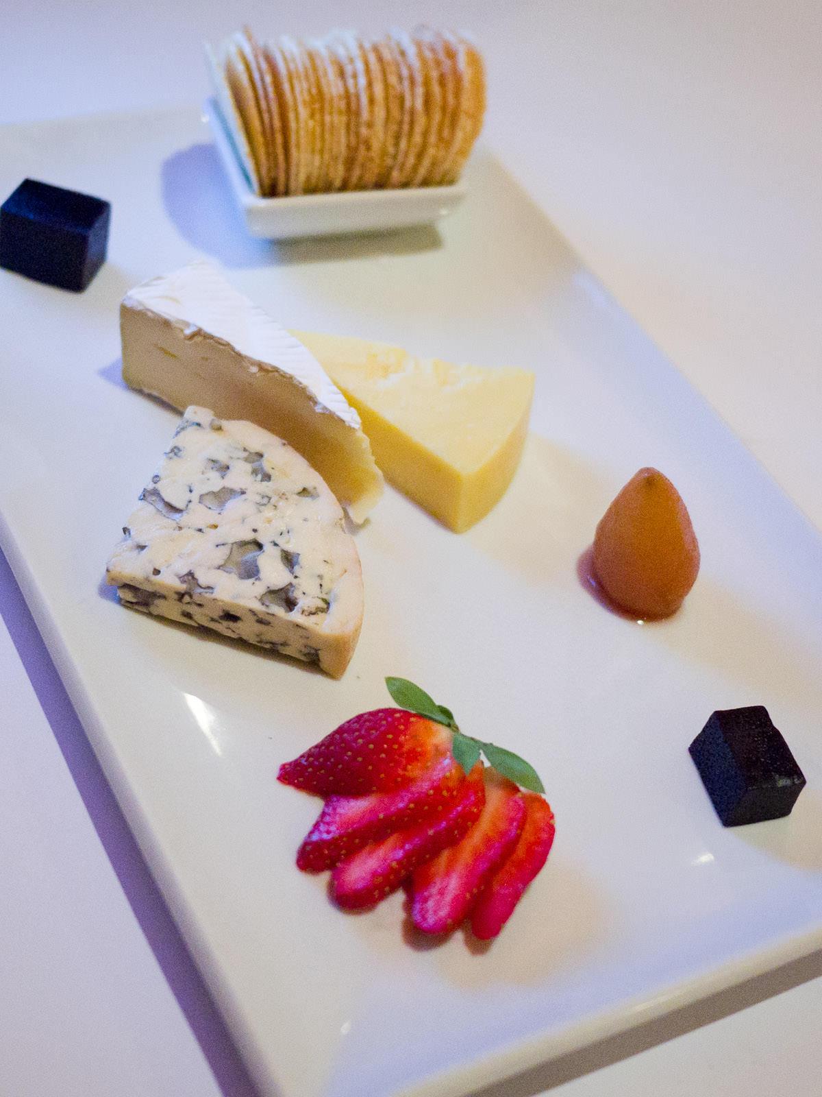 Cheeseboard - Roitelet Brie (France), Fourme d'Ambert Blue (France), Maffra clothbound cheddar (Victoria)