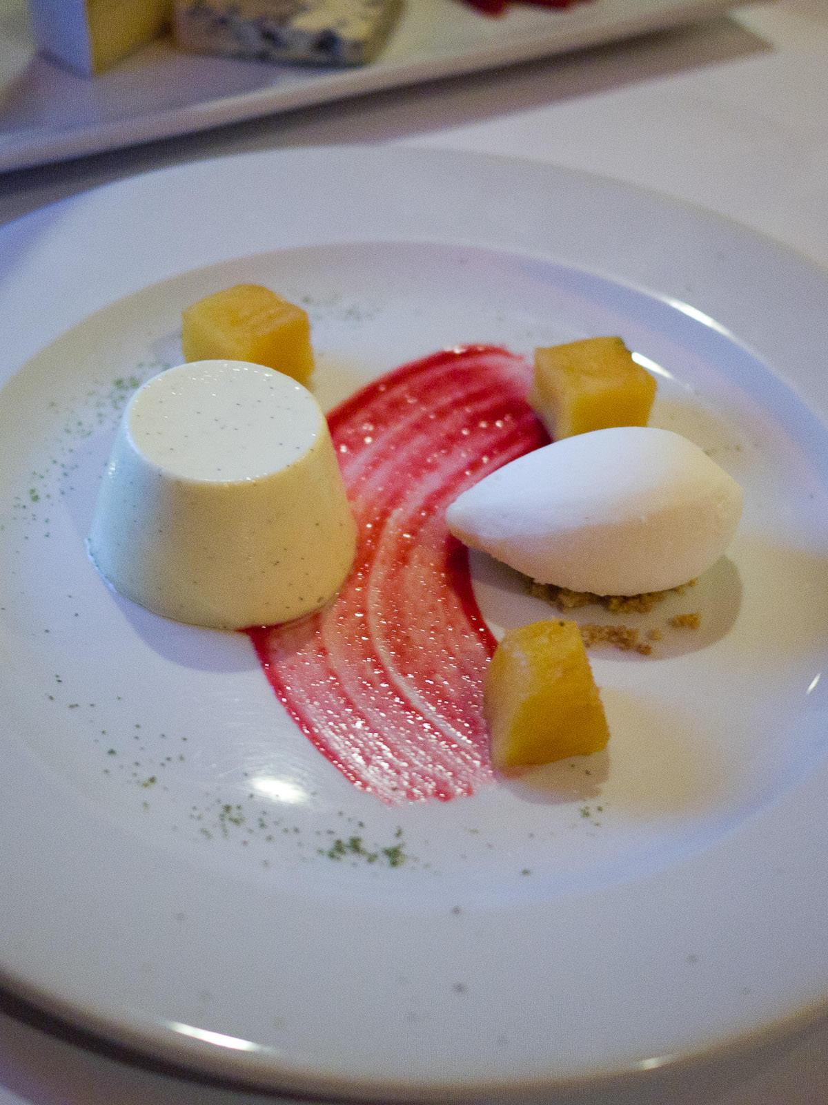 Vanilla pannacotta, caramelised pineapple, coconut sorbet