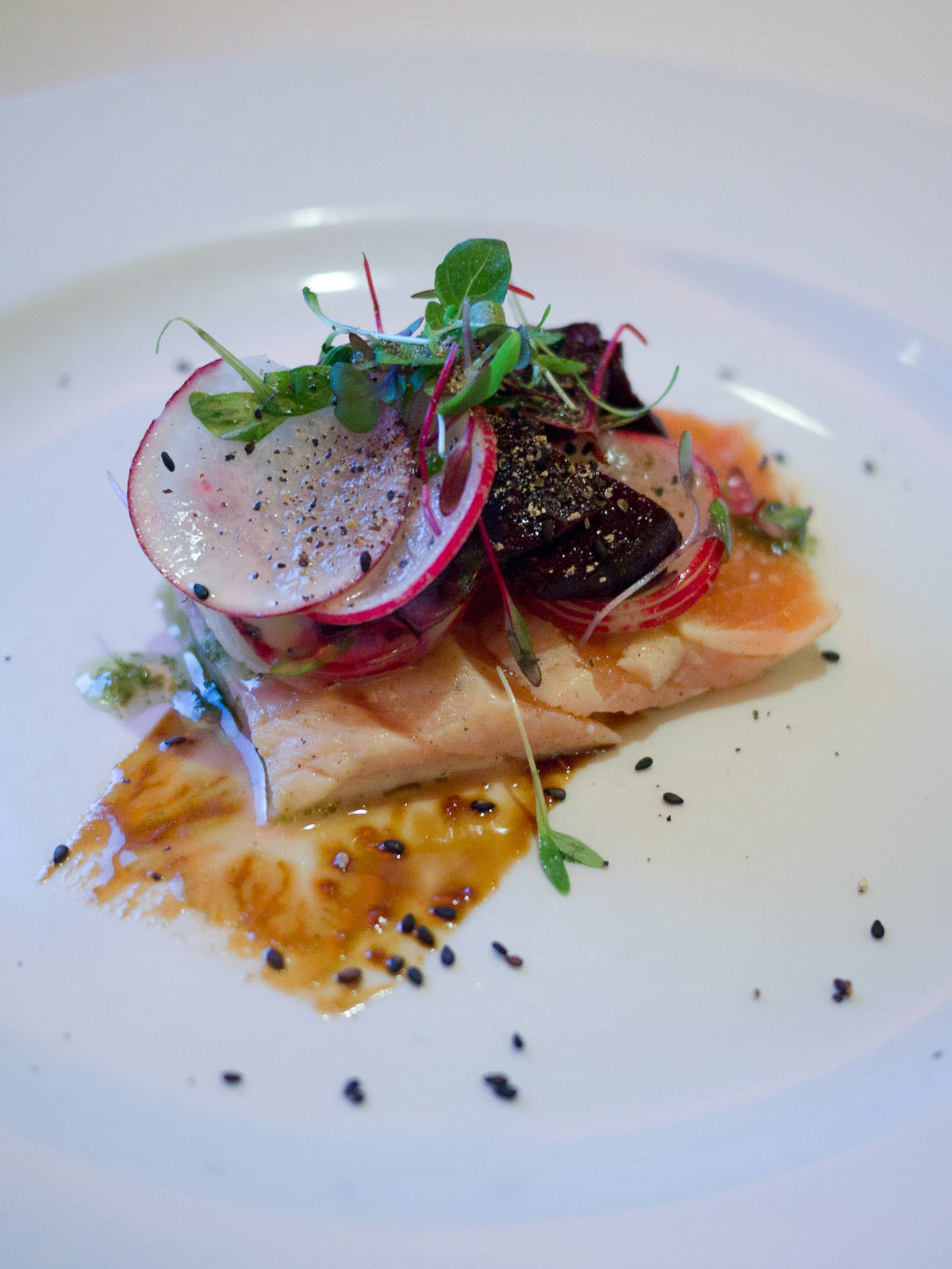 Tasmanian salmon tataki with root vegetable salad and jalapeno dressing