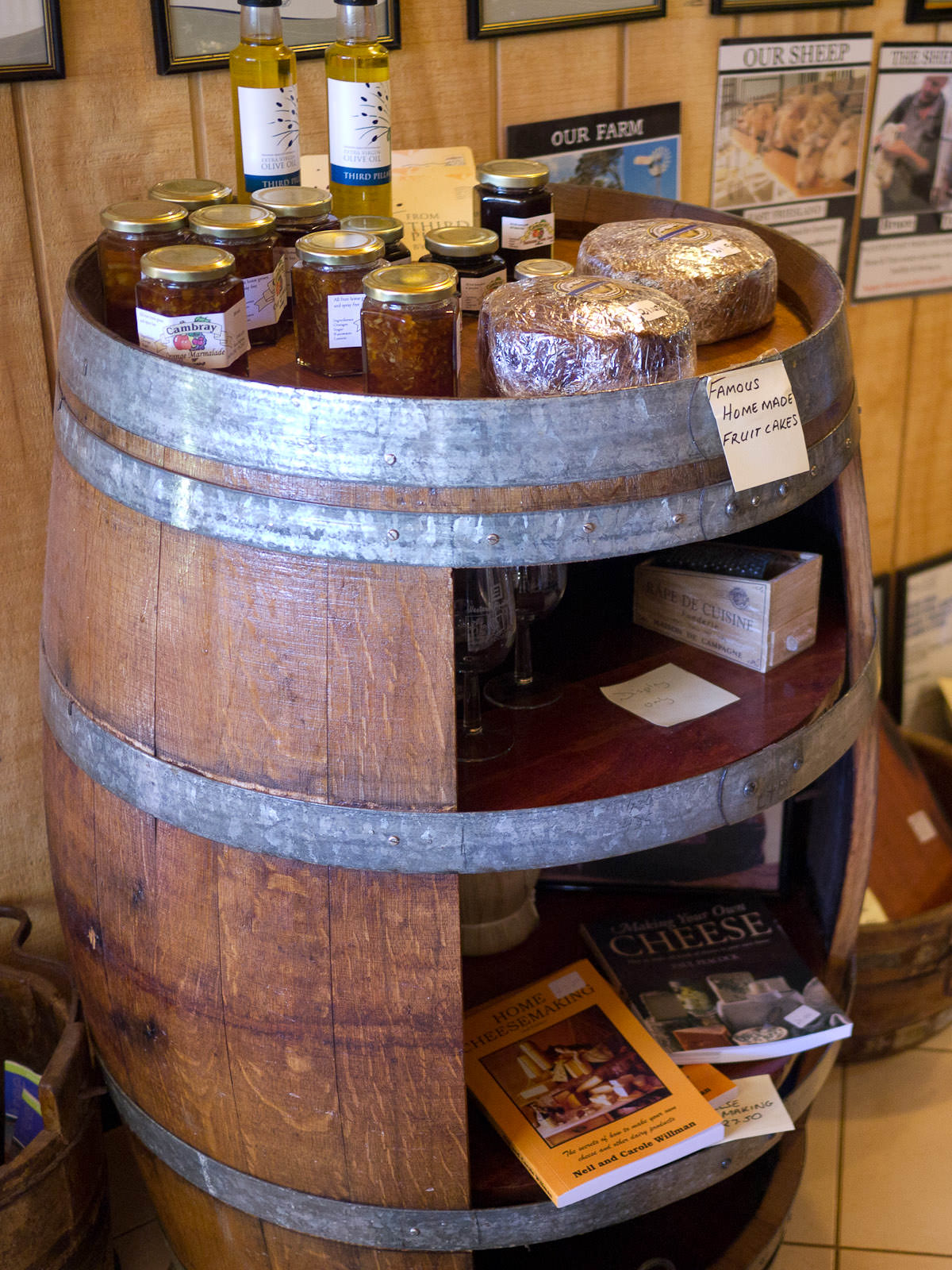 Barrel of goodies - local olive oil, preserves, famous homemade fruit cakes and books about cheese