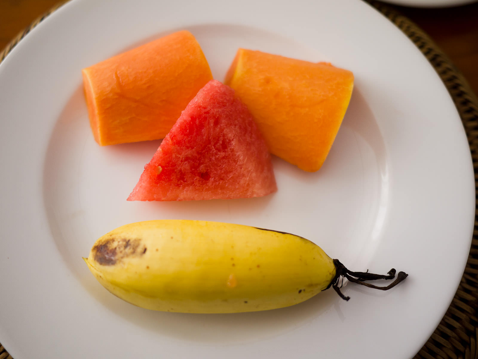 Fruit: papaya, watermelon, banana