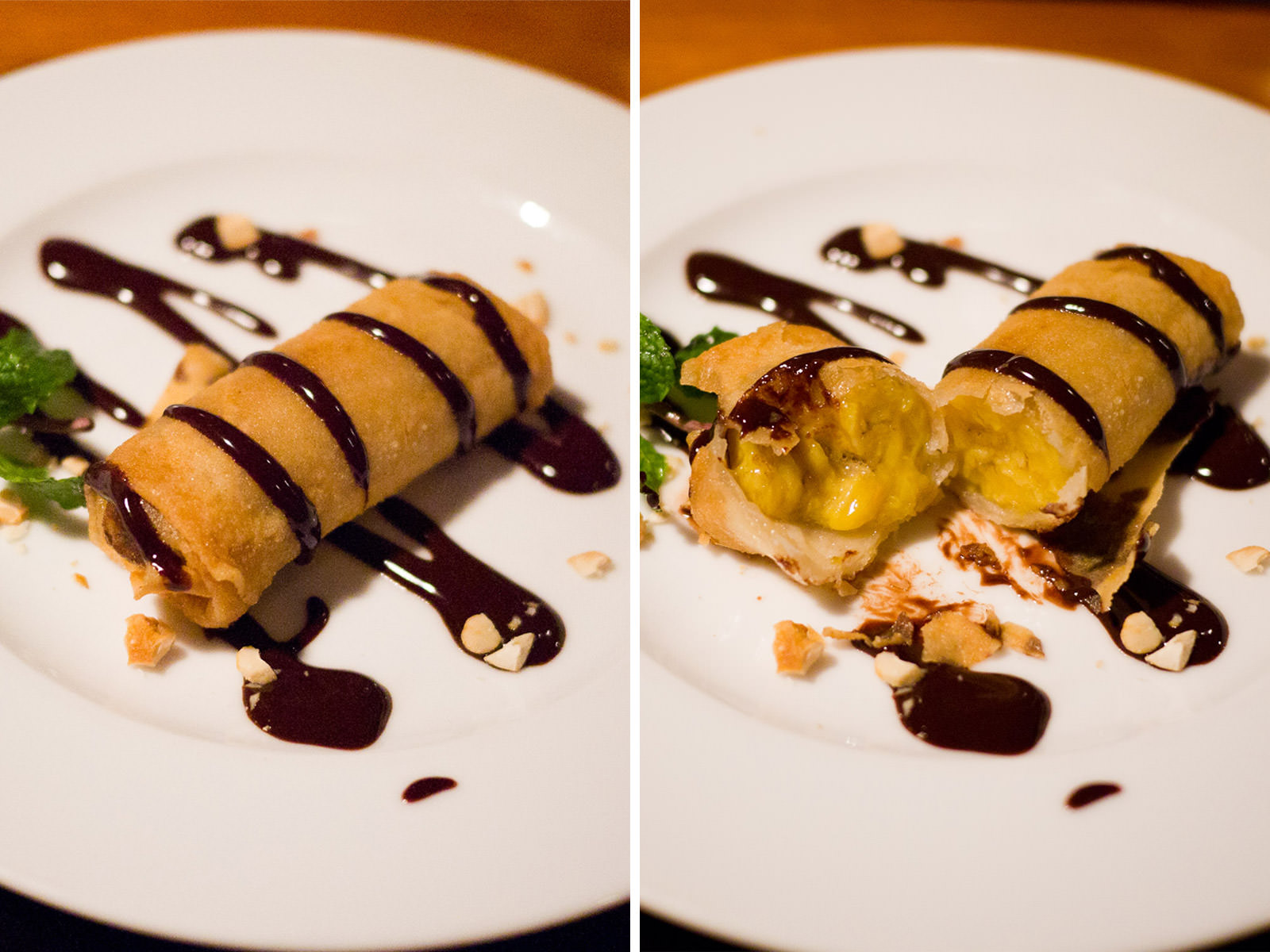 Deep fried banana spring roll with chocolate sauce