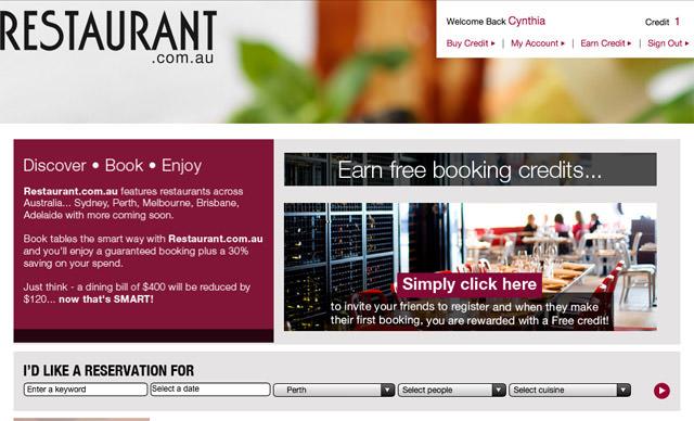 Screenshot of Restaurant.com.au
