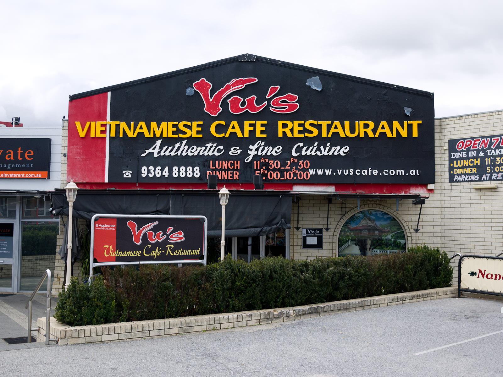 Vu's Vietnamese Cafe Restaurant, Applecross - frontage