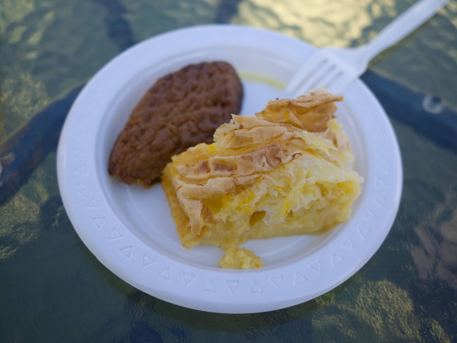 Melomakarona (honey syrup cookie) and portokalopita (orange yoghurt cake)