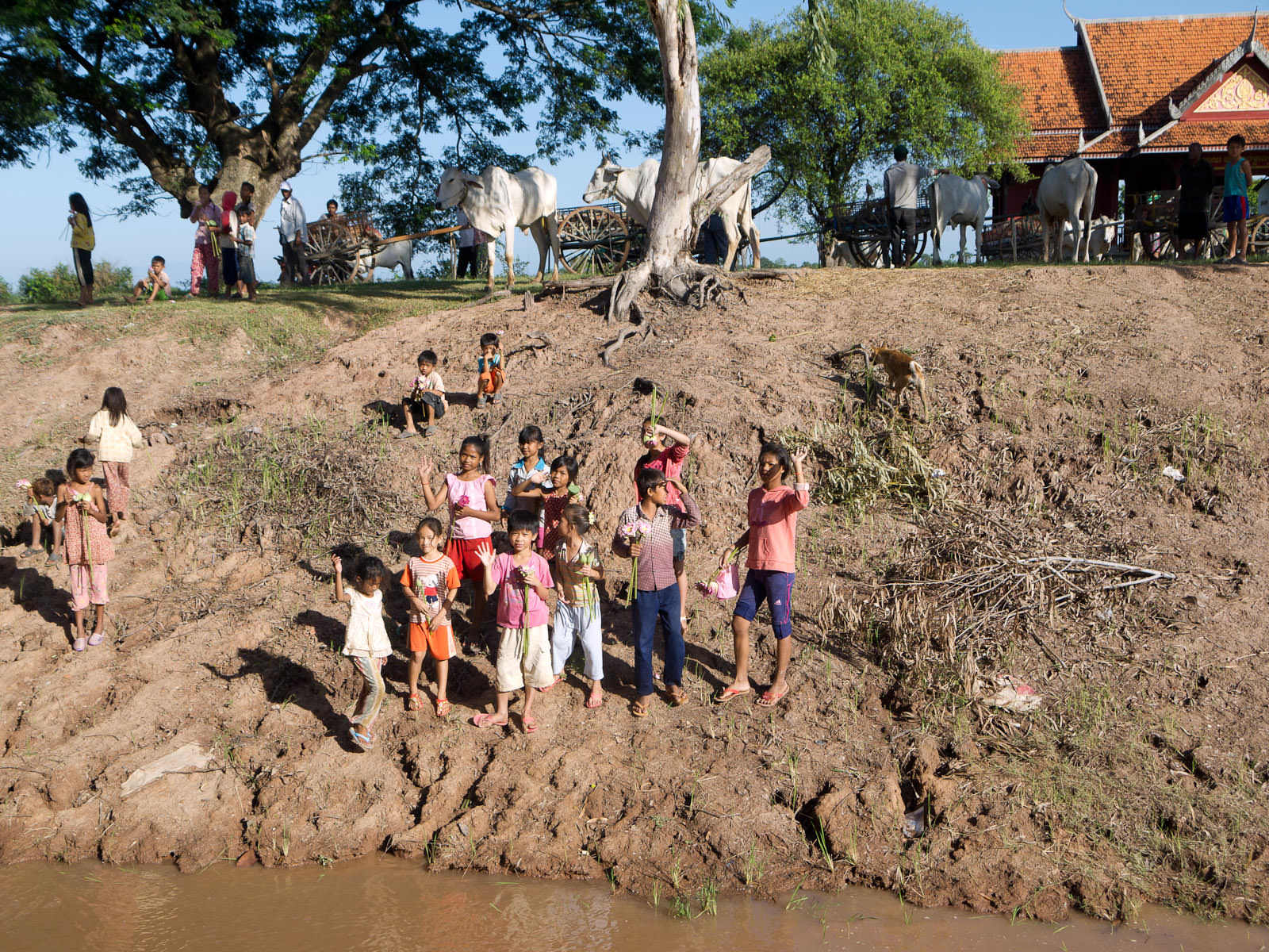 Village children waiting for us on the river bank