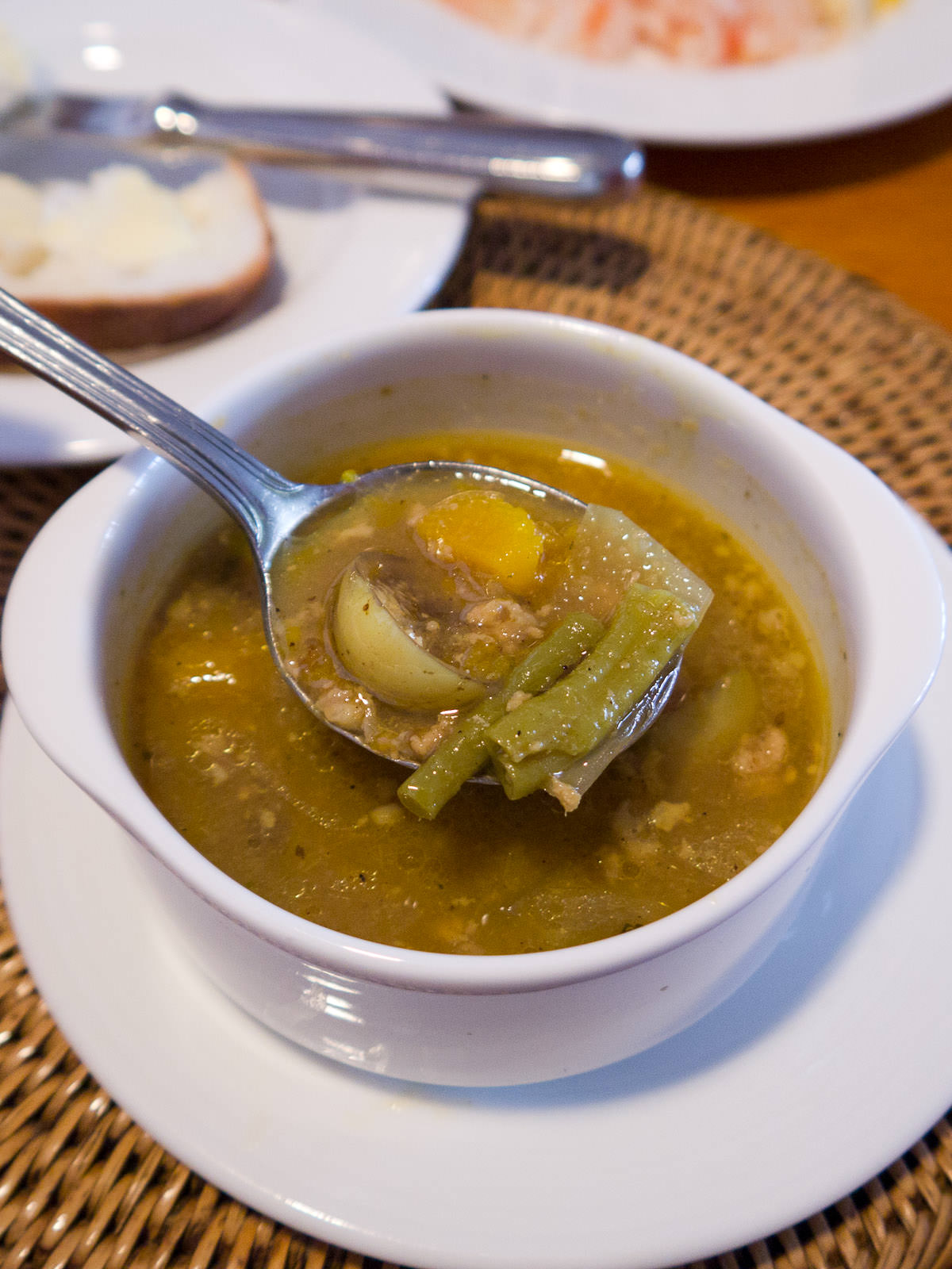Samlor kako (traditional Cambodian soup with minced pork)