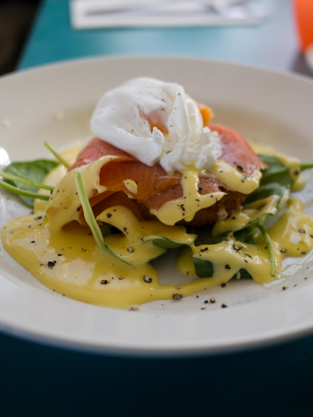 Blackboard special - lemon & pesto potato cake, smoked salmon, spinach, poached egg and hollandaise sauce (AU$13.50)