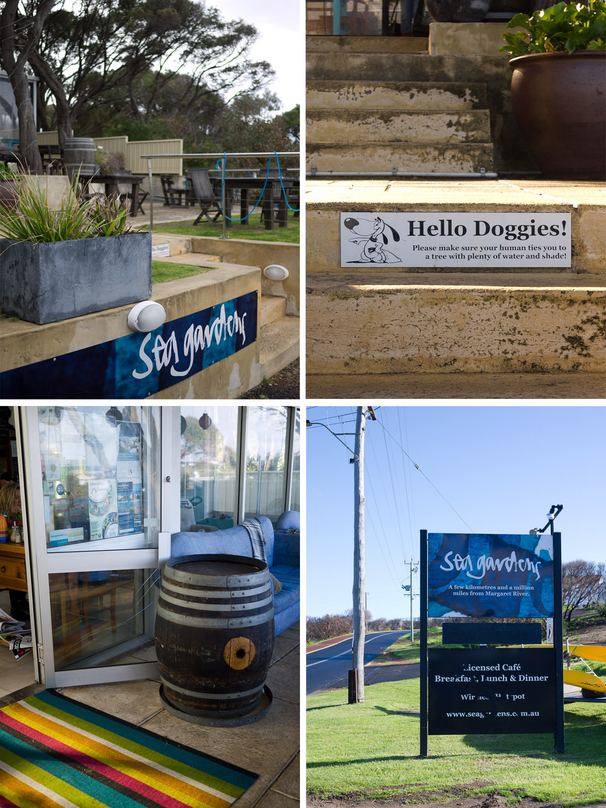 Sea Gardens - the stairs, entrance and roadside sign